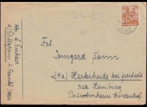 Landpost-Stempel Pillgram über FRANKFURT (ODER) 1 - 4.6.1948 auf Brief