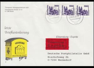 Letzte Briefkastenleerung Schmuck-Brief mit 3351 Eil-Brief BERLIN BPA 2.1.1992