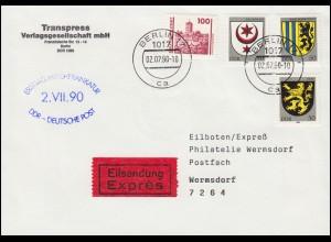 Erste Mischfrankatur DDR - Deutsche Post als Eil-Brief BERLIN 17 - 2.7.1990