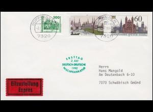 Ersttag Deutsch-Deutsche Mischfrankatur Eil-Brief mit 3352 GÖPPINGEN 2.7.90