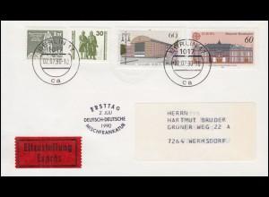 Ersttag 2. Juli Deutsch-Deutsche Mischfrankatur Eil-Brief mit 3345 BERLIN 2.7.90