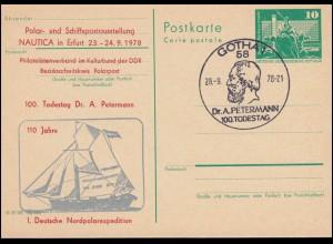 DDR P 79 Deutsche Nordpolexpedition Petermann 1978, SSt GOTHA Portrait 28.9.1978