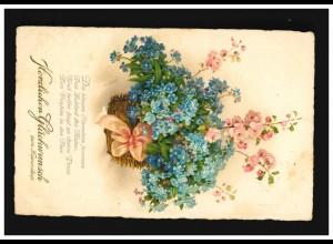AK Blumen Korb Blüten rosa Schleife Glückwunsch Namenstag, Wiesbaden 9.3.1929