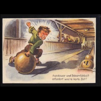 Sport-AK Kegeln: Bowlingbahn Ausdauer und Beharrlichkeit Humor, 1949
