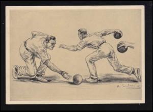 Sport-AK Kegeln: Abwurfübungen Schwungübungen, SSt BERLIN Olympia 16.8.1936