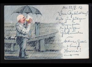 Sport-AK Kegeln: Kegelbahn bei Regen - Mann Regenschirm Bier, beschriftet 1913