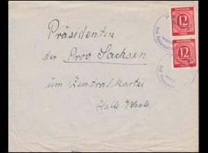 Gebühr-bezahlt-Stempel Bad Freienwalde auf Brief mit 2mal 919 Ziffer, um 1946