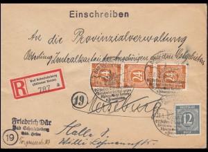 920+925 Ziffer-MiF R-Brief SSt BAD SCHMIEDEBERG (DÜBENER HEIDE) 23.8.1946