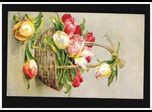 AK Blumen Stilleben gelb rote Tulpen Bastkorb Wien Gerstmayer, gelaufen 5.1.1924