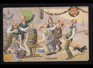 Sport-AK Kegeln: Auf der Kegelbahn - Stiftungsfest mit Freibier, Humor 16.5.1913