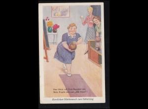 Sport-AK Kegeln: Auf der Kegelbahn - Frauenkegeln Alle Neun!, REGENSBURG 1957
