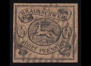 Braunschweig 4 Wappen 1/4 Ggr. / 4 GPf. gestempelt, Befund Lange BPP einwandfrei