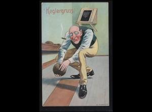 Sport-AK Kegeln: Auf der Kegelbahn - Konzentration beim Anwurf, BERLIN 22.1.1908