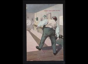 Sport-AK Kegeln: Auf der Kegelbahn Beim Anwurf: Immer mit der Ruhe! MEERANE 1913