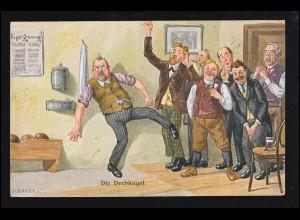 Sport-AK Kegeln: Auf der Kegelbahn - Die Drehkugel, Humor LEIPZIG TURNFEST 1913