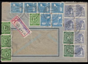 Währungsreform Zehnfachfrankatur Kontrollrat I+II R-Brief WERNIGERODE 30.6.1948