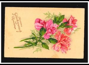AK Blumen rosa Landnelke Strauß Herzlichen Glückwunsch Namenstag, Ramsau