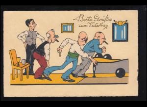 Sport-AK Kegeln: Vatertag, Im Kegelklub - Die Kugel läuft, GERA 1949