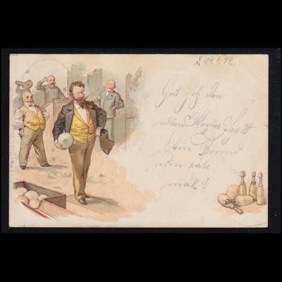 Sport-AK Kegeln: Herrenrunde auf der Kegelbahn - Beim Anwurf, 29.7.1899