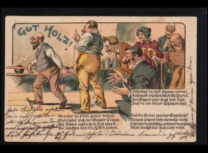Sport-AK Kegeln: Auf der Kegelbahn - Gut Holz! Humor, LEIPZIG 17.12.1902