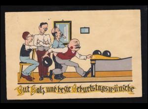 Sport-AK Kegeln: Gut Holz! Geburtstag, Herrenrunde - Beim Anwurf, DRESDEN 1932