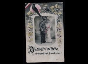 Liebes-AK Liebespaar in Uniform mit Vögeln, VIECHTACH 19.3.1917