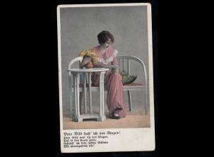 Liebes-AK Lächelnde Frau mit Liebesbrief auf der Bank, Feldpost 31.5.1917
