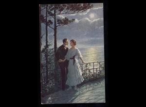 Ungarn Liebes-AK Liebespaar bei Vollmond auf der Terrasse, VARPALOTA