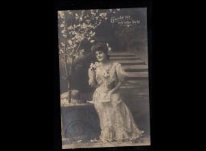 Liebes-AK Verliebtes Mädchen - Glaube mir, ich leibe Dich! MINDELHEIM 29.10.1909