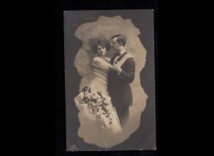 Liebes-AK Sich umarmendes Liebespaar, LANDAU 23.5.1914