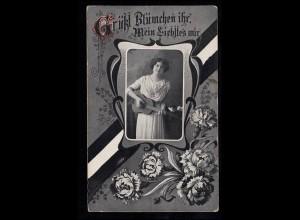 Liebes-AK Frau mit Gitarre und Blumengirlande, GRENZHAUSEN 13.9.1916