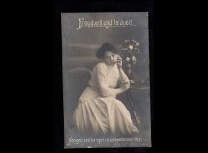 Liebes-AK Mädchen mit Taschentuch - Freudvoll und leidvoll NIEDERSTAUFEN um 1912