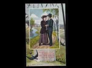 Liebes-AK Liebespaar mit Schwalben und Brieftaube, 1913