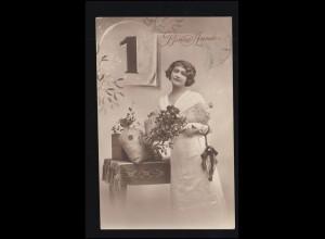Belgien Ansichtskarte Neujahr - Frau mit Geldsäcken, BERCHEM 1914