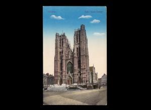 AK Belgien: Brüssel - St. Gudula Kirche, Feldpost BRÜSEL 21.3.1917