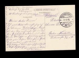 BS Soldatenheim I Gent auf AK Gand/Gent Maison des Bateliers, Feldpost 4 - 1916