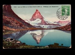 AK Schweiz: Riffelsee und Matterhorn, WÜLFLINGEN 23.4.1912