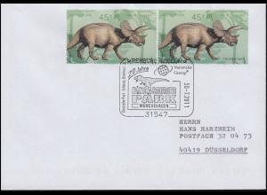 2687 Triceratops aus Block 73 als codierte MeF auf Brief SSt Dinosaurier-Park