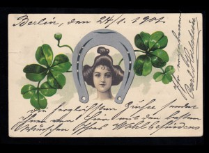 AK Neujahr: Frau im Hufeisen mit Glücksklee BERLIN 7 - 24.1.1901 nach INGOLSTADT