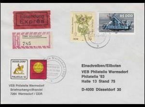 Wermsdorf-Messebrief zur Philatelia'83 in Düsseldorf aus WERMSDORF 25.10.1983