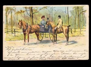 Künstler-AK Bezniez: Einspanner mit Frau und Pferd und Reiter, BERLIN 26.11.1901