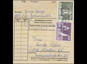 1882+1919 Aufbau Großformat auf Paketkarte Poststellenstempel 5301 Stendal
