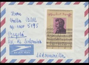 Block 62 Wolfgang Amadeus Mozart 1981 auf Auslands-Brief WEGELEBEN 4.5.81