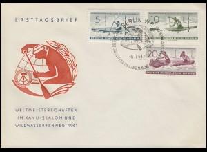 838-840 Kanuslalom-WM 1961 - Satz auf Schmuck-FDC ESSt BERLIN