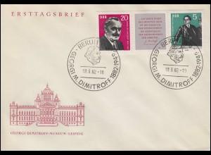 893-894 Dimitrow 1962: Zusammendruck-Dreierstreifen auf Schmuck-FDC ESSt BERLIN