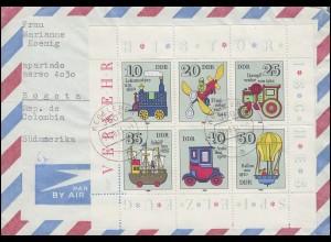 2566-2571 Spielzeug 1980: Kleinbogen Auslandsbrief WEGELEBEN 31.8.81 nach Bogota
