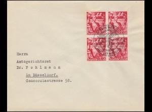 661 Machtergreifung: Viererblock auf Brief passender SSt NÜRNBERG 30.1.38