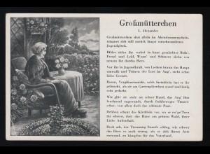 Großmütterchen sitzt allein im Abendsonnenschein Garten L.Alexander, ungebraucht