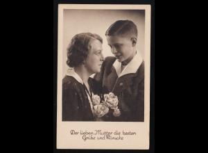 Der lieben Mutter die besten Wünsche, Junge Blumen für die Mutter, ungebraucht