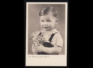 Blondes Kleinkind mit Strauß Blumen, Zum Muttertag herzliche Wünsche ungebraucht